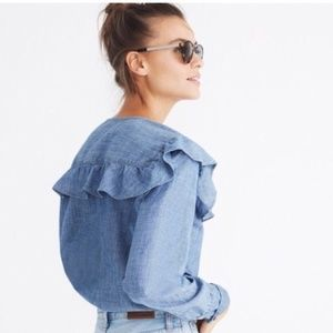 Madewell Chambray Ruffle Button Up Top Size XS